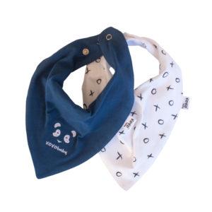 panda + denim blue bandana bibs