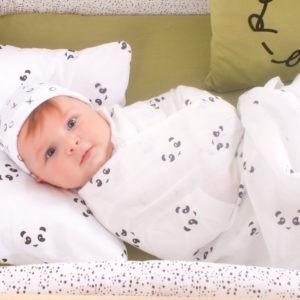 denim blue + panda muslin swaddle cloth