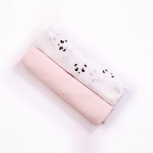 soft pink + panda muslin swaddle cloth