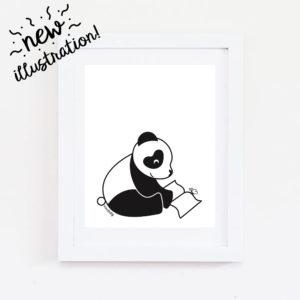 panda reading wall art