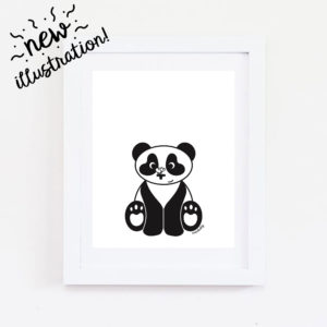 panda with butterfly wall art