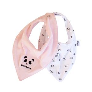 panda + soft pink bandana bibs