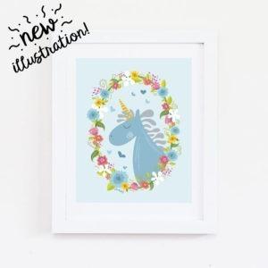 boy unicorn wall art