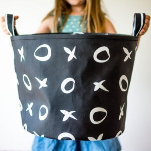 black xo canvas toy bin