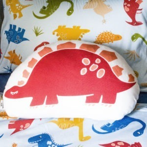 red dino scatter cushion