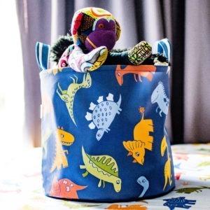 dino canvas toy bin