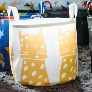 leopard canvas toy bin