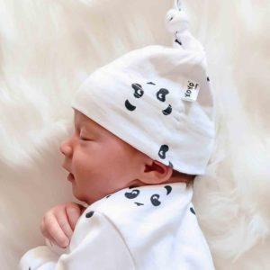 newborn panda knotted beanie
