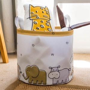 safari animals canvas toy bin