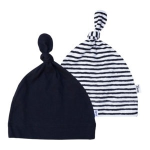 stripe + black beanie pair