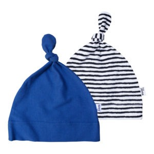 stripe + denim blue beanie pair
