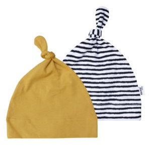 stripe + mustard yellow beanie pair