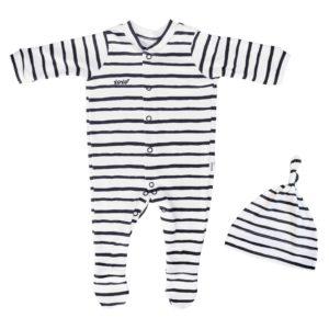 newborn black stripe babygro + beanie