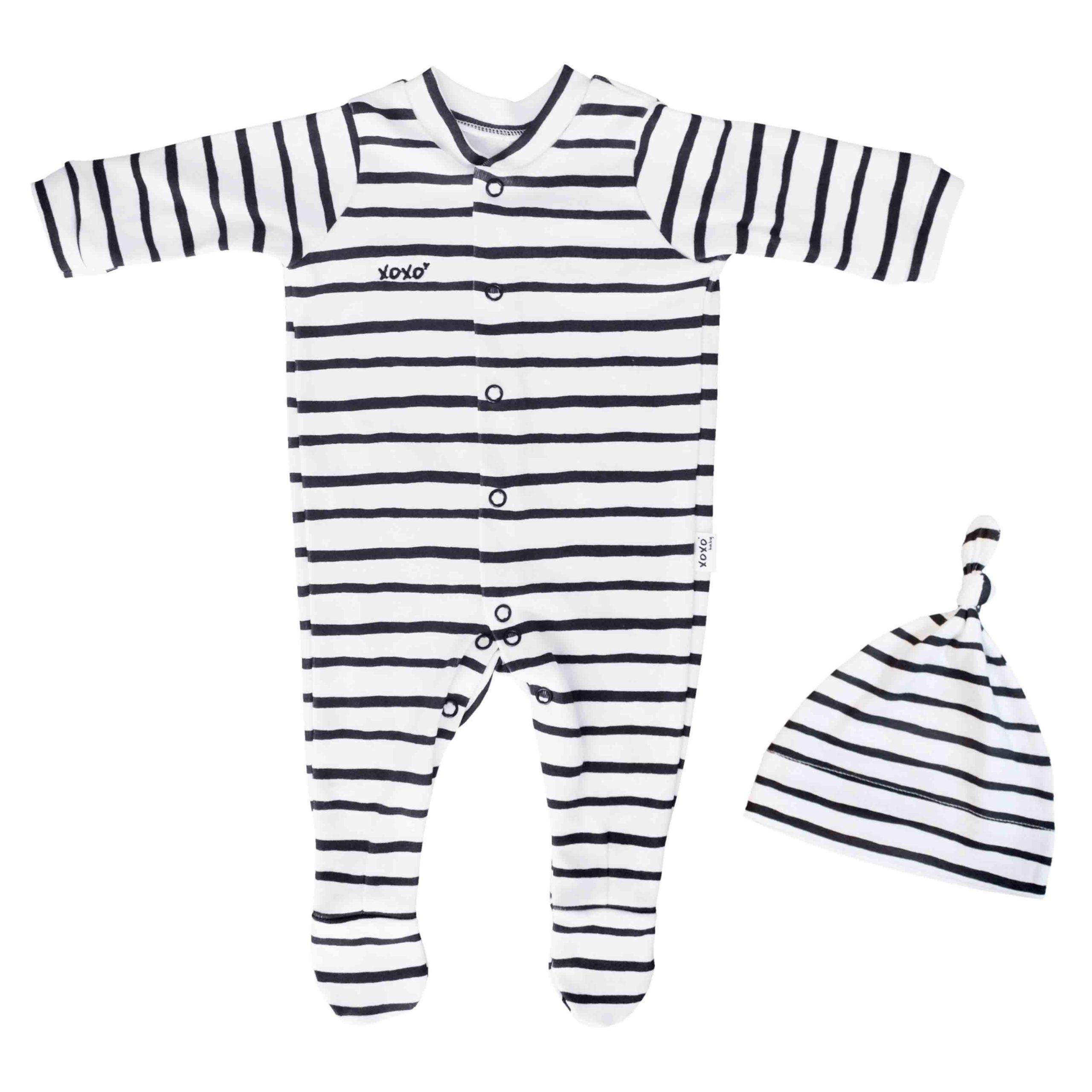 black stripe babygro + beanie - 0-3 months