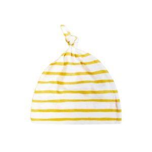 newborn mustard stripe knotted beanie