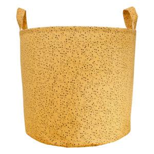 mustard speckles canvas toy bin