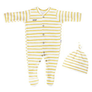 newborn mustard stripe babygro + beanie