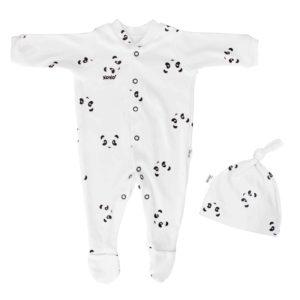 newborn panda babygro + beanie