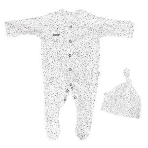 newborn speckles babygro + beanie