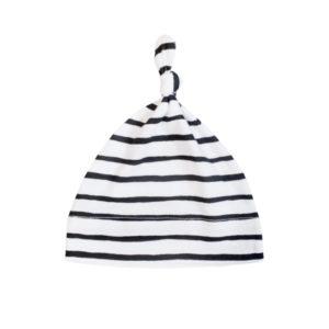 newborn black stripe knotted beanie